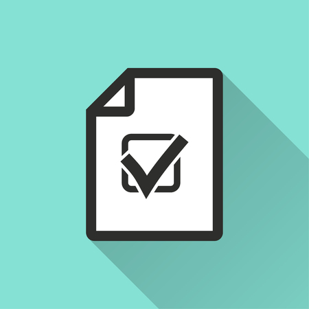 filling folder: Checklist vector icon with long shadow. Illustration isolated for graphic and web design.