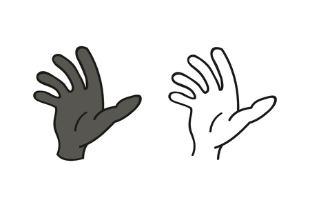 Hand vector icon. Black illustration isolated on white background for graphic and web design. Illustration
