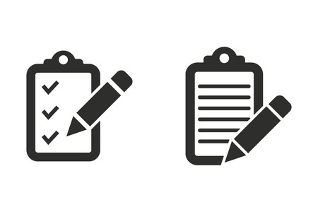 roster: Clipboard pencil vector icon. Black illustration isolated on white background for graphic and web design. Illustration