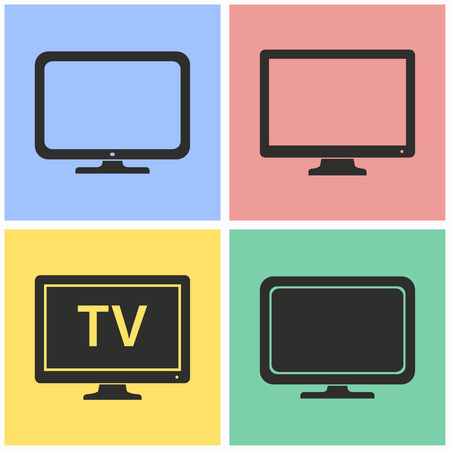 hdtv: TV vector icons set. Black illustration isolated for graphic and web design.