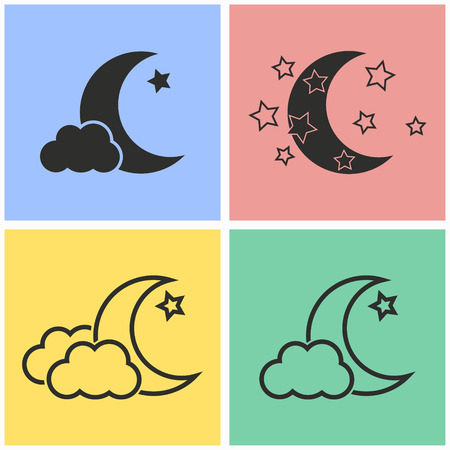 lullaby: Moon star vector icons set. Black illustration isolated for graphic and web design.