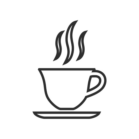 Coffee cup vector icon. Black illustration isolated on white background for graphic and web design.
