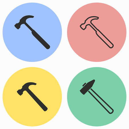 Hammer vector icons set. Black illustration isolated for graphic and web design.
