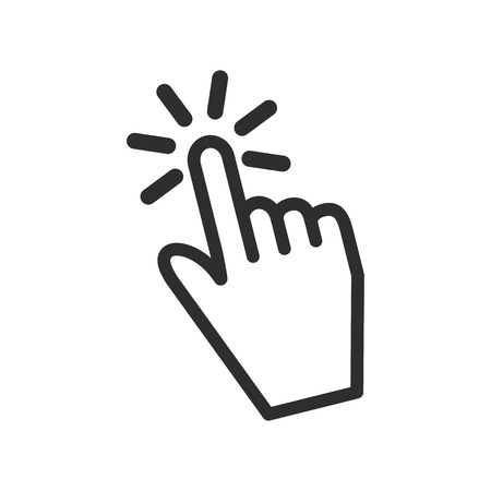Touch vector icon. Black illustration isolated on white background for graphic and web design. Vettoriali