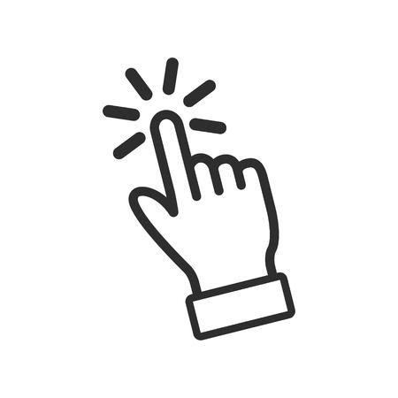 Kliknij ikonę wektorową. Czarna ilustracja odizolowywająca na białym tle dla grafiki i sieci projekta.