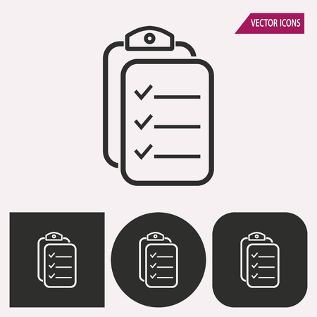 roster: Clipboard - black and white icons. Vector illustration. Illustration