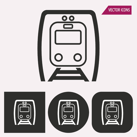 locomotion: Metro - black and white icons. Vector illustration.