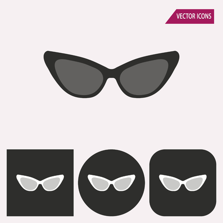 aviators: Sunglasses - black and white icons. Vector illustration. Stock Photo