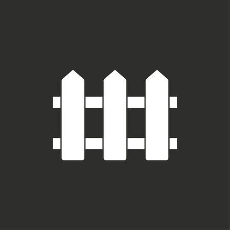 bucolic: Fence vector icon. White illustration isolated on black background for graphic and web design.