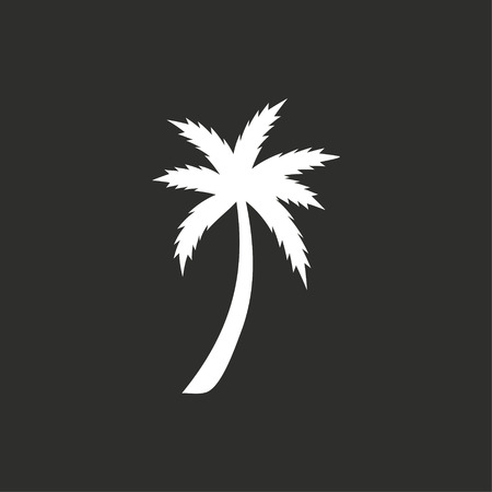 Palm tree vector icon. White illustration isolated on black background for graphic and web design. 向量圖像
