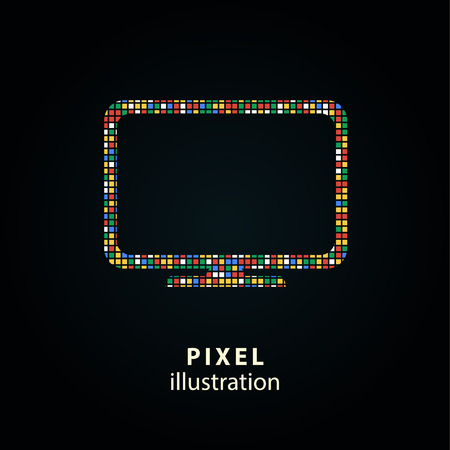 hdtv: TV - pixel icon. Vector Illustration. Design  element. Isolated on black background. It is easy to change to any color. Illustration