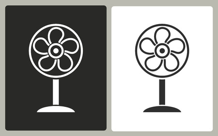 aeration: Fan - black and white icons. Vector illustration.