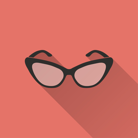 aviators: Sunglasses vector icon with long shadow. Illustration isolated on red background for graphic and web design. Illustration