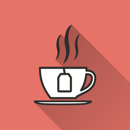 Tea vector icon with long shadow. Illustration isolated on red background for graphic and web design.