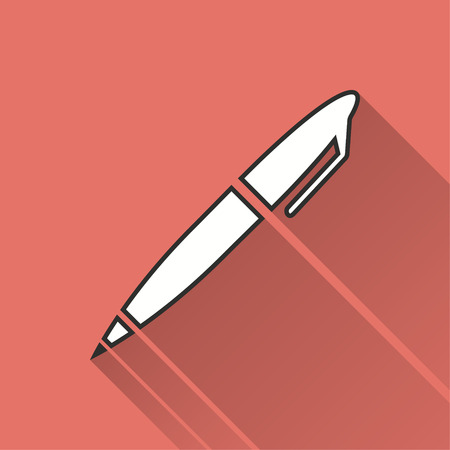 Pen vector icon with long shadow. Illustration isolated on red background for graphic and web design. Illustration