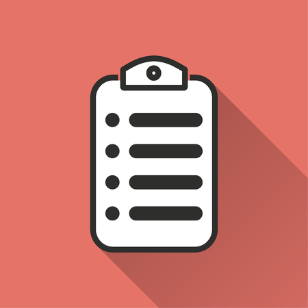 web portal: Menu vector icon with long shadow. Illustration isolated on red background for graphic and web design.