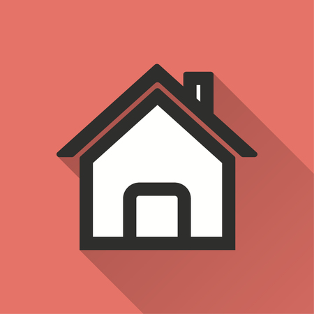 abode: Home vector icon with long shadow. Illustration isolated on red background for graphic and web design.