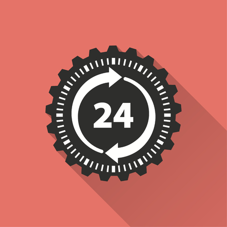 24 hour service vector icon with long shadow. Illustration isolated on red background for graphic and web design.