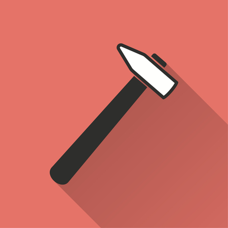 Hammer vector icon with long shadow. Illustration isolated on red background for graphic and web design.
