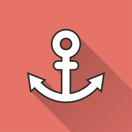 navy pier: Anchor vector icon with long shadow. Illustration isolated on red background for graphic and web design. Illustration