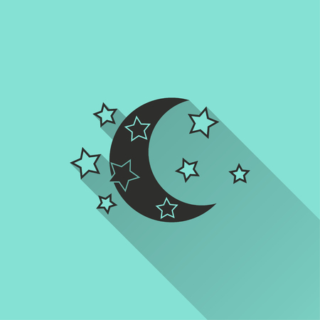Moon star vector icon with long shadow. Black illustration isolated on green background for graphic and web design.