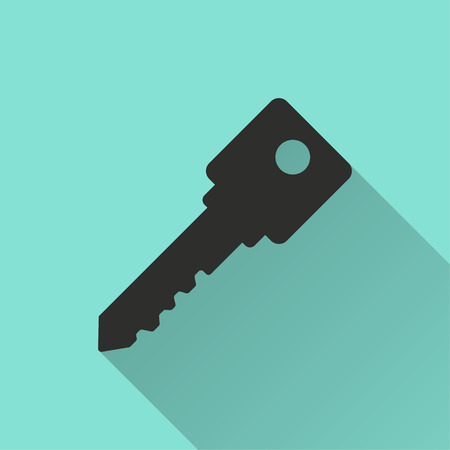 Key vector icon with long shadow. Black illustration isolated on green background for graphic and web design.