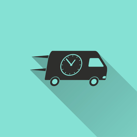 Fast delivery vector icon with long shadow. Black illustration isolated on green background for graphic and web design.