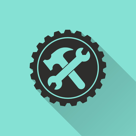 Tool vector icon with long shadow. Black illustration isolated on green background for graphic and web design. Illustration