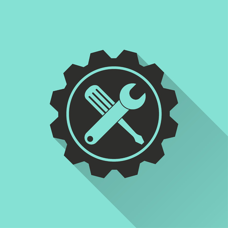 adjustment: Tool vector icon with long shadow. Black illustration isolated on green background for graphic and web design. Illustration