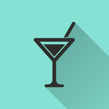 Cocktail vector icon with long shadow. Black illustration isolated on green background for graphic and web design. Stock Photo