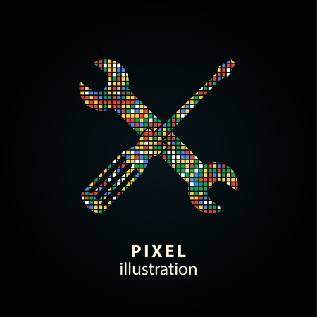 Gereedschap - pixelpictogram. Vector illustratie. Ontwerp logo element. Geïsoleerd op zwarte achtergrond.
