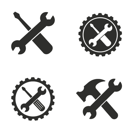 Tool vector icons set. Black illustration isolated for graphic and web design.