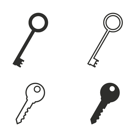 Key vector icons set. Black illustration isolated for graphic and web design.