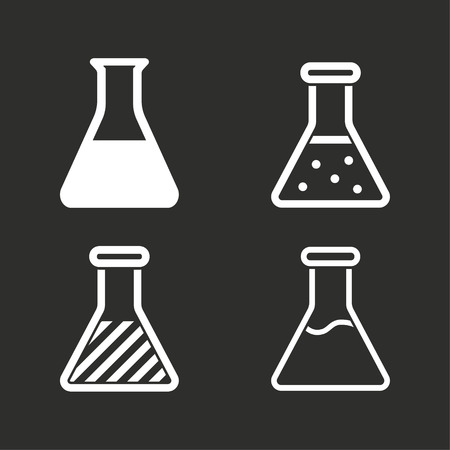 poison symbol: Flask vector icons set. White illustration isolated for graphic and web design.