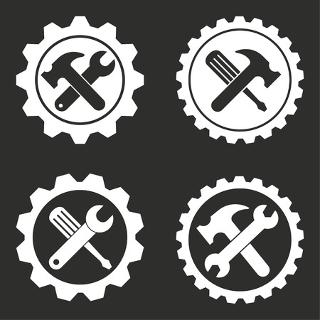 Tool vector icons set. White illustration isolated for graphic and web design. Illustration