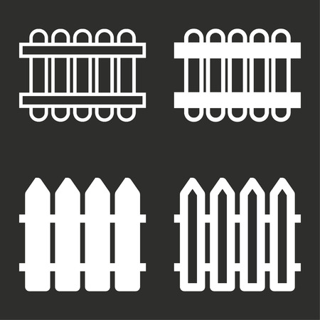 Fence vector icons set. White illustration isolated for graphic and web design. Illustration