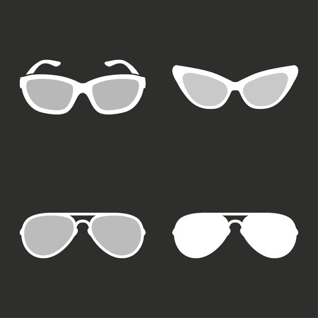 aviators: Sunglasses vector icons set. White illustration isolated for graphic and web design.