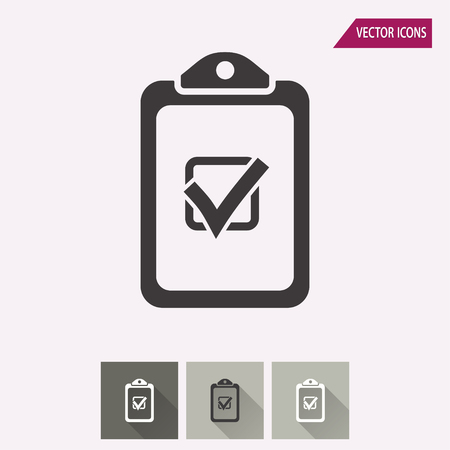 filling folder: Checklist vector icon. Illustration isolated for graphic and web design.