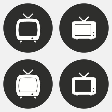 TV vector icons set. White illustration isolated for graphic and web design.