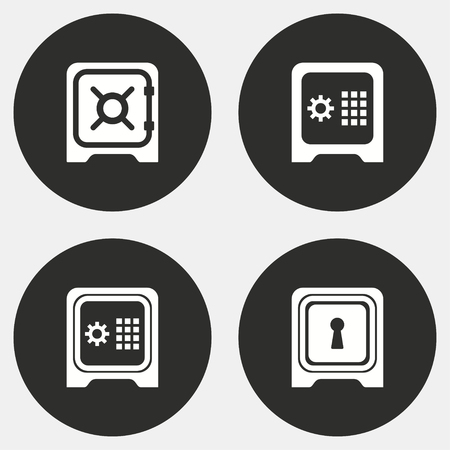 classified: Safe vector icons set. White illustration isolated for graphic and web design.