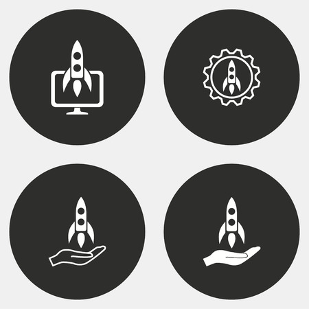 investor: Start up vector icons set. White illustration isolated for graphic and web design. Illustration