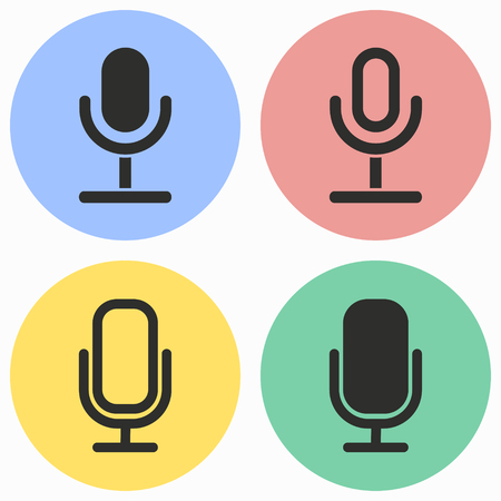 amplification: Microphone vector icons set. Illustration isolated for graphic and web design. Illustration