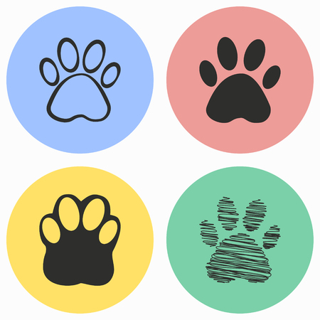 Paw vector icons set. Illustration isolated for graphic and web design.