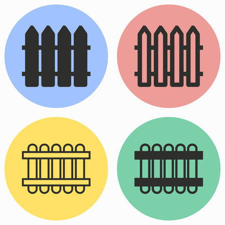Fence vector icons set. Illustration isolated for graphic and web design. Illustration