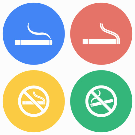 pernicious habit: Smoke vector icons set. Illustration isolated for graphic and web design.