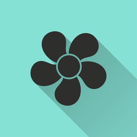 Fan vector icon with long shadow. Illustration isolated for graphic and web design.
