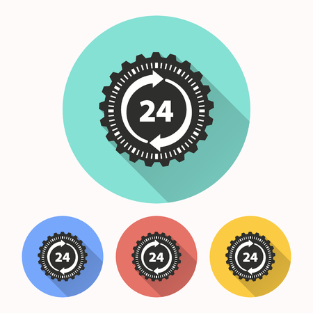 24 hour service vector icon. Illustration isolated for graphic and web design.