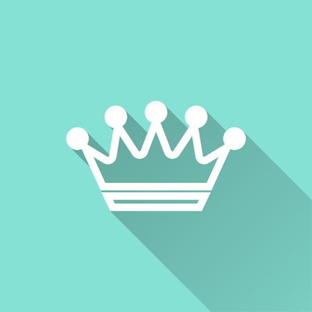emperor: Crown vector icon with long shadow. White illustration isolated on green background for graphic and web design.