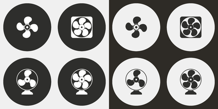 aeration: Fan vector icons set. Illustration isolated for graphic and web design.