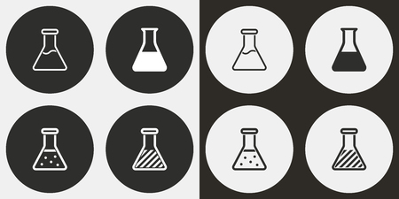 laboratory equipment: Flask vector icons set. Illustration isolated for graphic and web design.